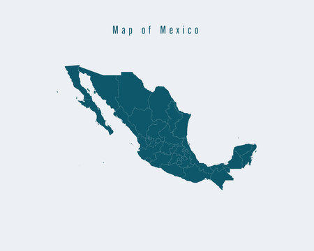 federal states: Modern Map - Mexico with federal states