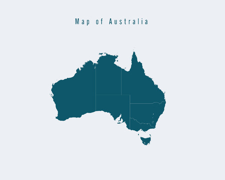 federal: Modern Map - Australia with federal states