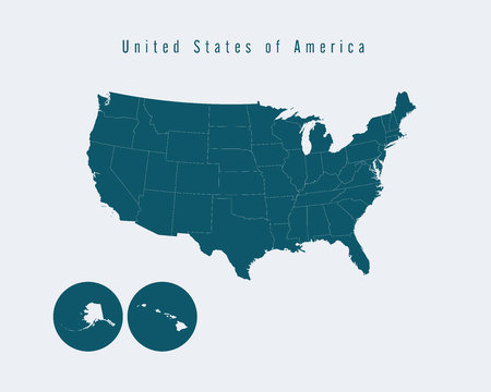 federal states: Modern Map - USA with federal states