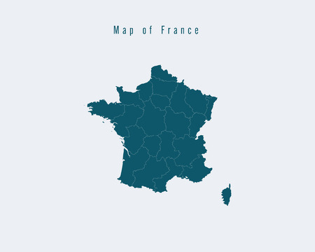 federal states: Modern Map - France with federal states