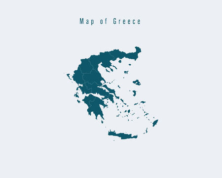 federal: Modern Map - Greece with federal states Illustration