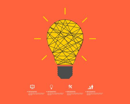 cerebro blanco y negro: Idea bulb. Light bulb icon with concept of idea vector illustration isolated on white background.