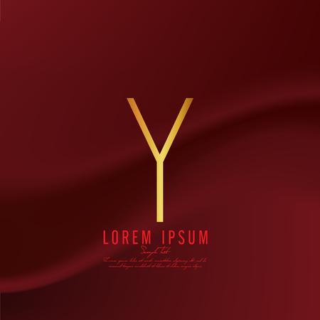 Golden letter Y logo template. Vector illustration