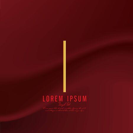 Golden letter I logo template. Vector illustration