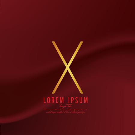 Golden letter X logo template. Vector illustration