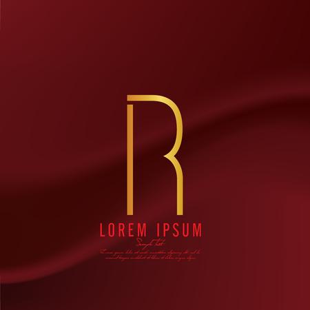 Golden letter R logo template. Vector illustration
