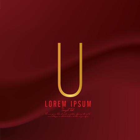 deficient: Golden letter U logo template. Vector illustration