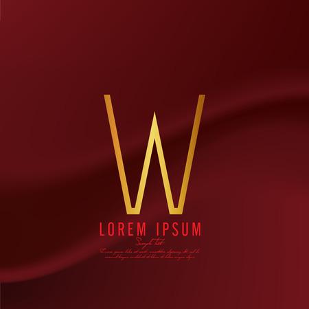 Golden letter W logo template. Vector illustration