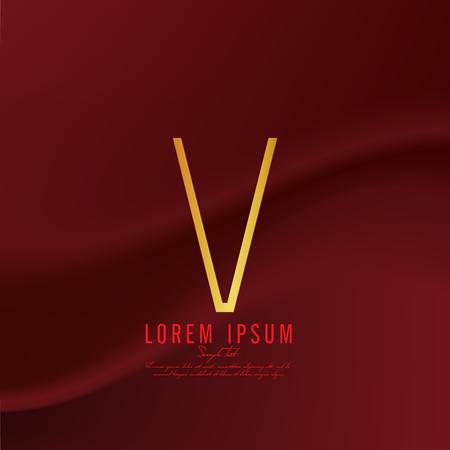 Golden letter V logo template. Vector illustration Иллюстрация