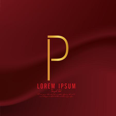 deficient: Golden letter P logo template. Vector illustration