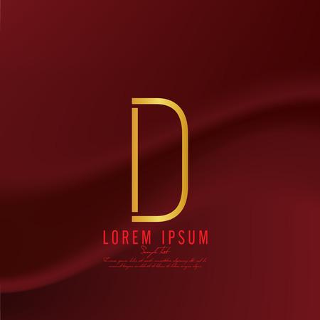 Golden letter D logo template. Vector illustration