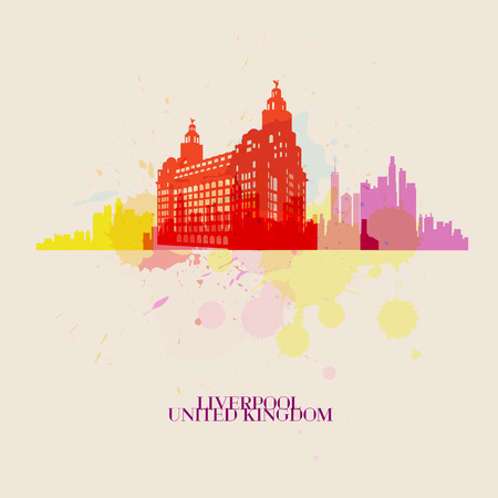 LIVERPOOL Vector silhouettes of the city Иллюстрация