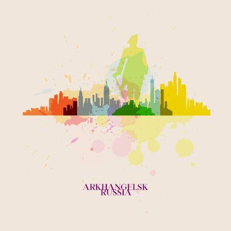 ARKHANGELSK Vector silhouettes of the city Иллюстрация