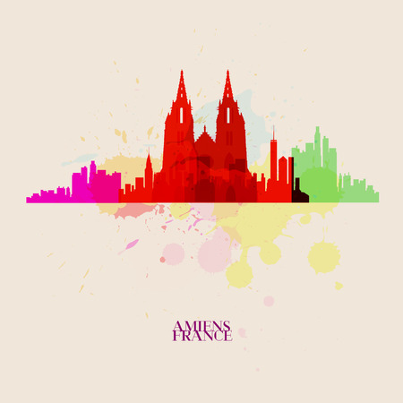 AMIENS Vector silhouettes of the city Иллюстрация