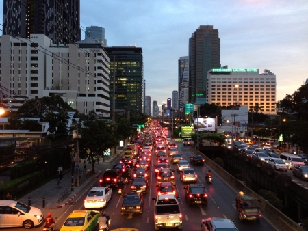Traffic jam in Sathorn Road Bangkok