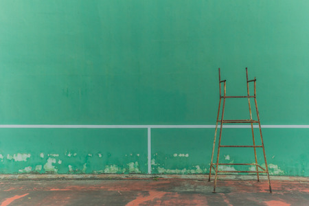 outmoded: Empty tennis knock board. which is not in use. Stock Photo