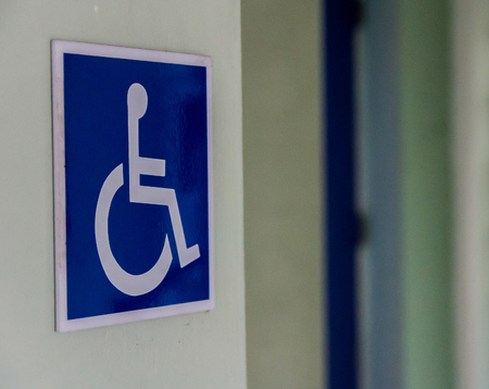 wheelchair access: Symbol of the disabled.The the disabled have the convenience of living in different places. Stock Photo