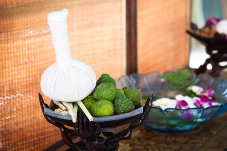 thailand fabrics: Thai herb ball for massage Stock Photo
