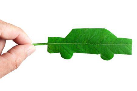 Green car cut from leaf