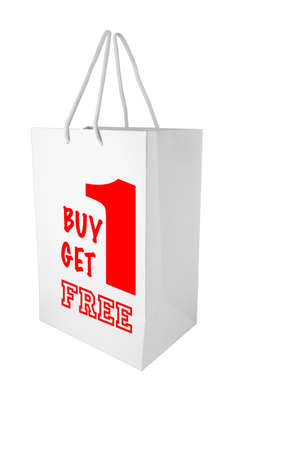 sale Buy 1 get 1 free paper bag for shopping promotion photo