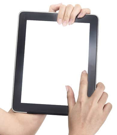 touch screen hand: Isolated: card blank with hand on white backgroud