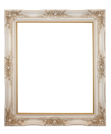 rectangle frame: XXL isolated: Vintage wood frame Stock Photo