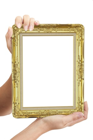 hand carved: hand holding photo frame Stock Photo
