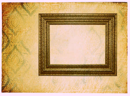 adventure story: vintage wallpaper background with photoframe