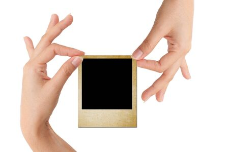 Isolated: card blank with hand on white backgroud photo