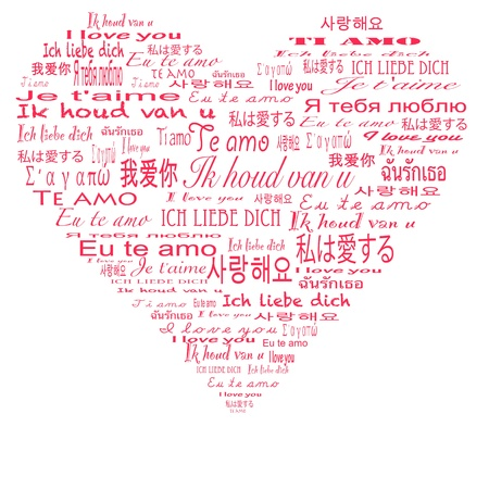 valentin day: I love you in multiple language Stock Photo