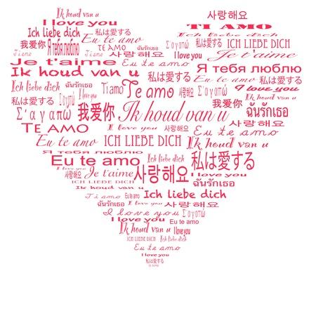 cherished: I love you in multiple language Stock Photo