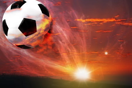 soccer balls: ball fly from galaxy Stock Photo