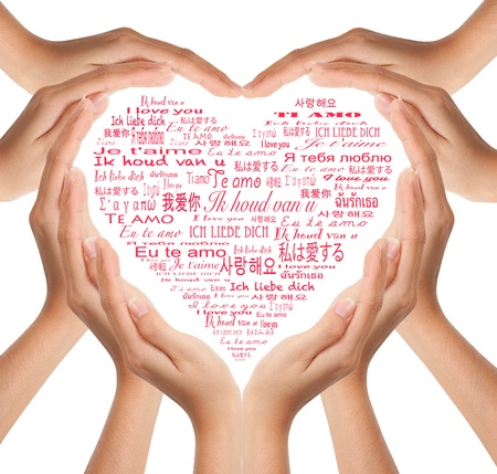 Hands make heart shape photo