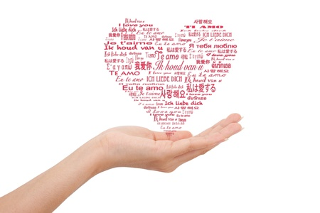 mutil love word in hand Stock Photo - 8816390