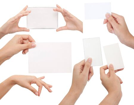 backgroud: Isolated: card blank with hand on white backgroud
