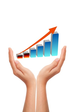 Hand with growing graph Stock Photo - 9375602