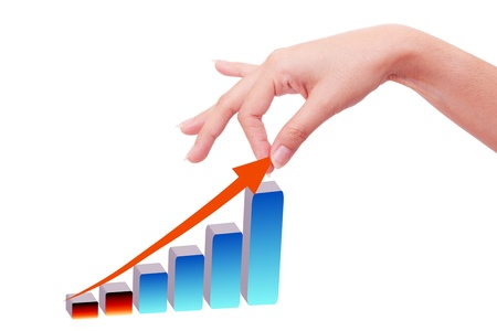 Hand with growing graph Stock Photo - 9375582
