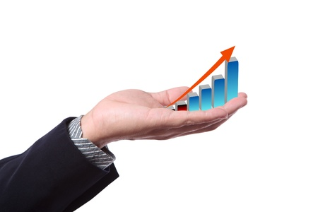 Hand with growing graph Stock Photo - 9375581
