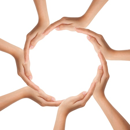 diverse hands: Multiracial human hands making a circle with Copy Space Stock Photo