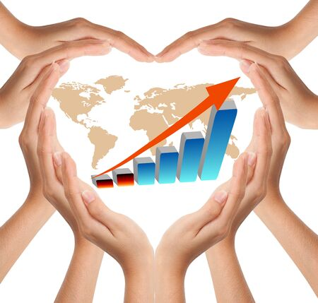 Hands make heart shape with graph Stock Photo - 9375957