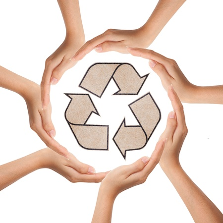Multiracial human hands making a circle with recycle sign Stock Photo - 9403471
