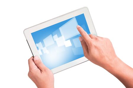touchpad: Man hand touch to touchpad