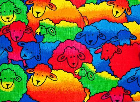 oveja negra: Fondo multicolor de ovejas