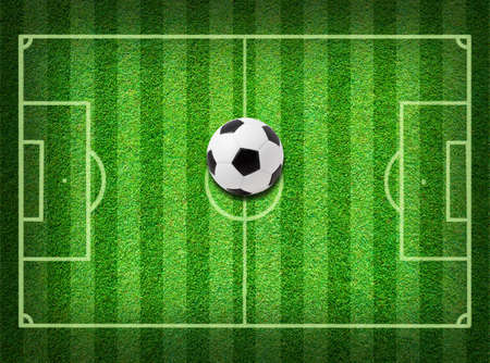Real green grass soccer field background photo