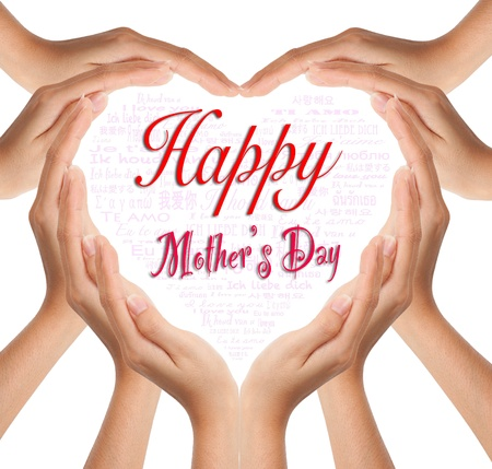 Hands make heart shape for happy mother day photo