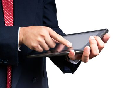 business man touching tablet pc , New Technology Stock Photo - 9598410