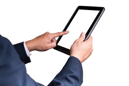 business man touching tablet pc , New Technology Stock Photo - 9597964