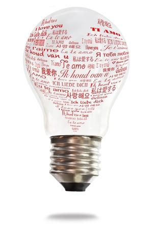 light bulb with international love words photo