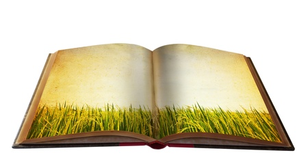 open road: Magic book with Landscape view for your education meterial Stock Photo