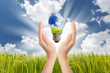 Hands saving , Global Concept of Green Energy Solutions With Light bulb and Planet on Bright Landscape Stock Photo - 9646411